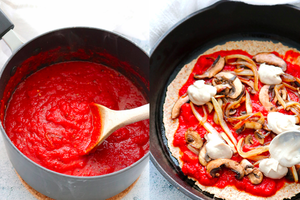 vegan pizza sauce in pot next to vegan pizza in a tray
