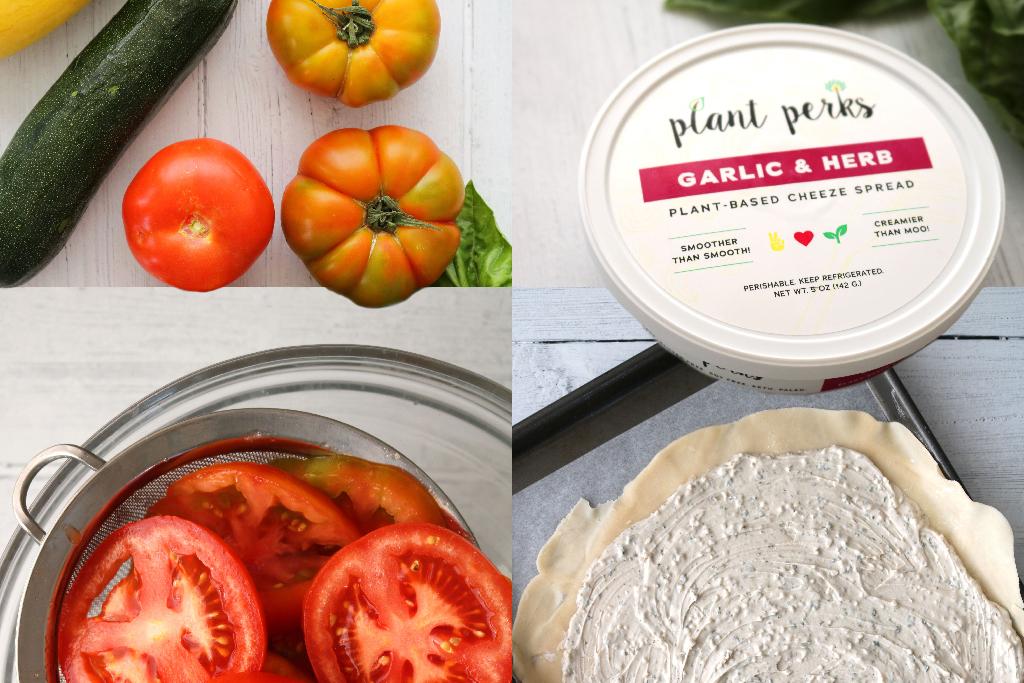 collage of vegan vegetable tart recipe ingredients