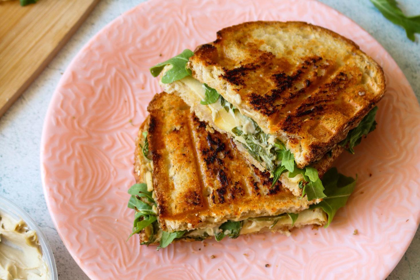 Vegan Panini Recipe with Smoked Gouda, Apple, and Arugula Filling