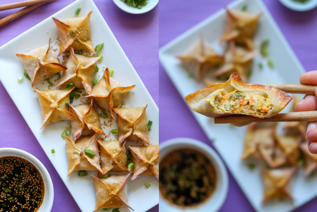 vegan crab rangoons on serving plate and person holding one with chopsticks