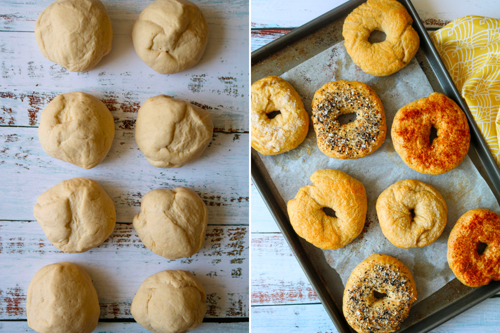 photo of cooked and uncooked vegan bagels