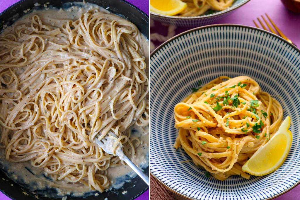 Vegan garlic pasta in a bowl