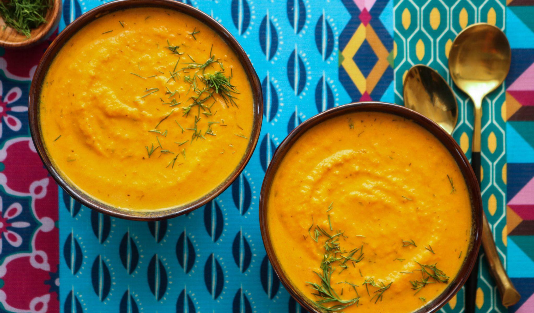 Roasted Carrot Dill Vegan Soup Recipe