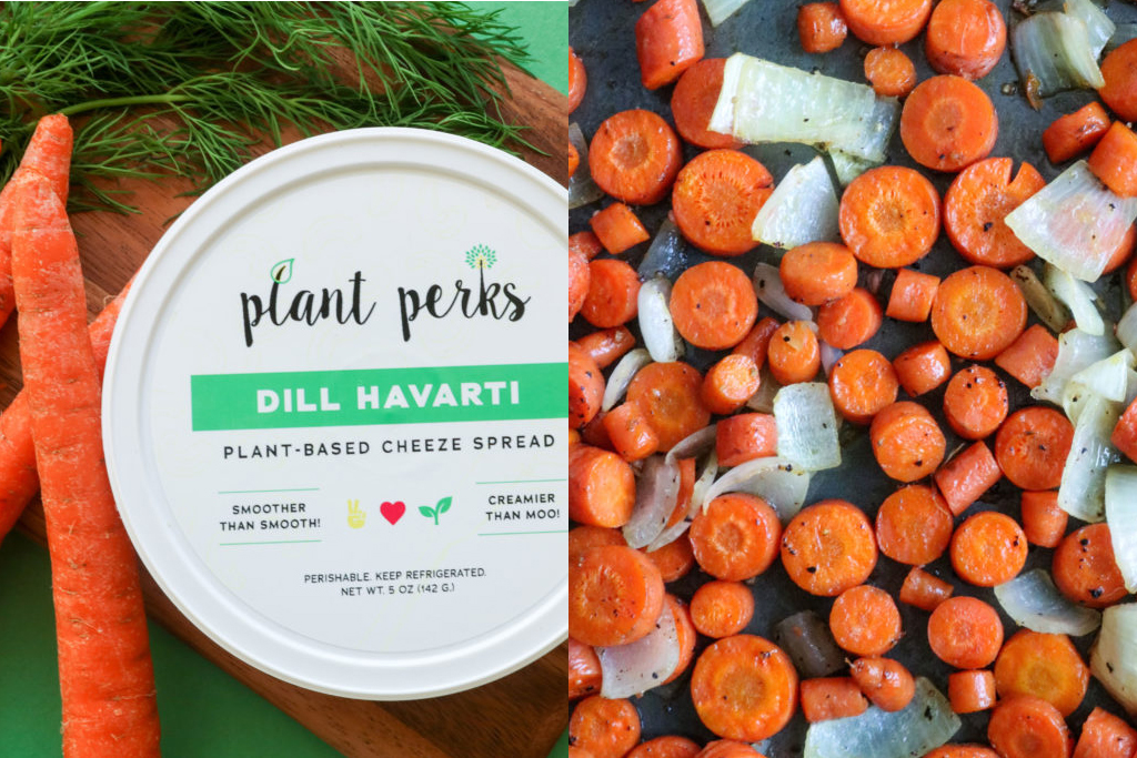 Plant Perks Dill Havarti Vegan Cashew Cheese Container surrounded by carrots
