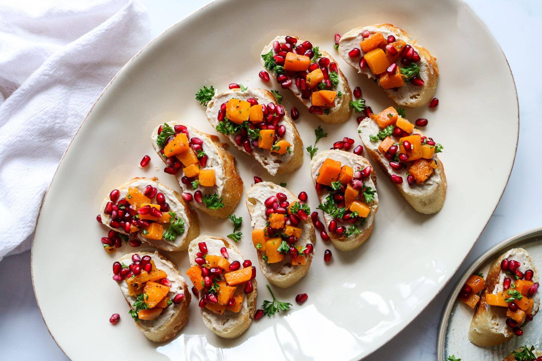Butternut Squash and Pomegranate Bruschetta Recipe