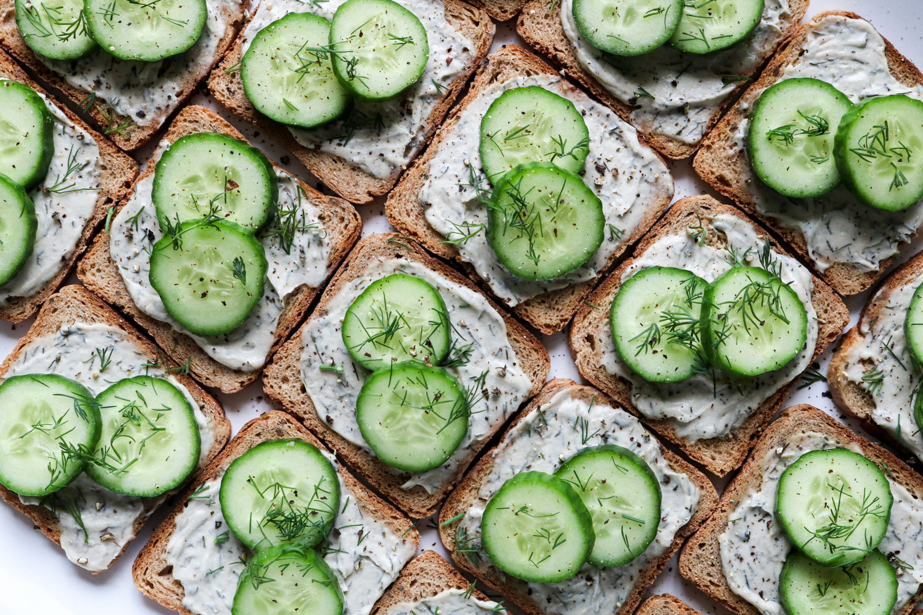 Vegan Cucumber Cocktail Sandwiches with Dill Recipe