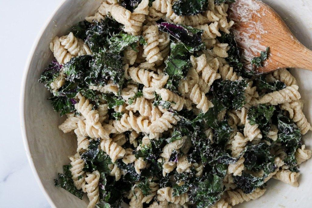 warm winter veggie pasta salad