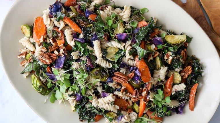 Simple & Warm Winter Veggie Vegan Pasta Salad Recipe