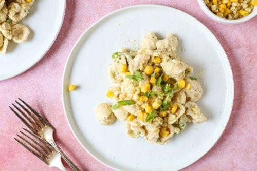 creamy corn and scallion pasta