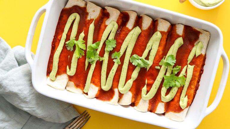 Vegan Enchiladas Recipe with Creamy Avocado Sauce