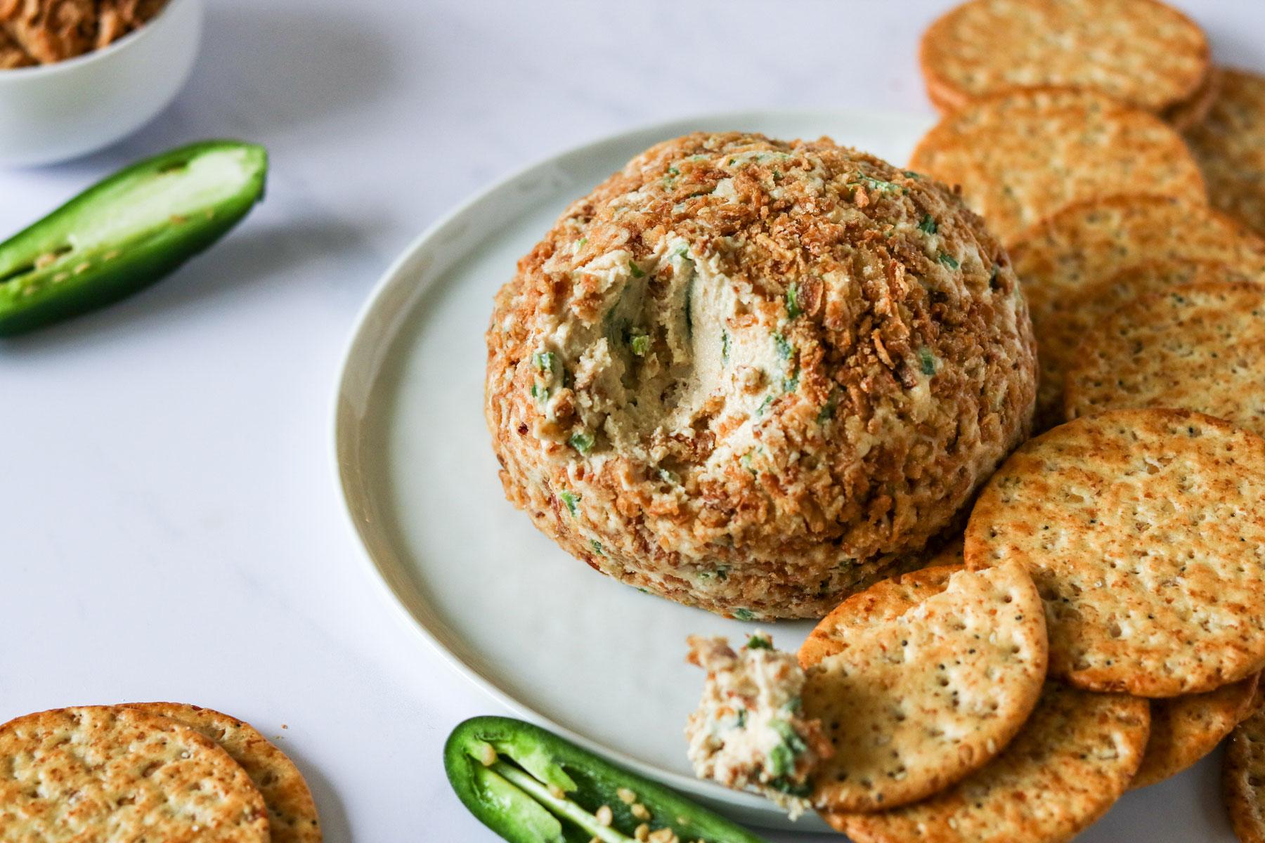 Jalapeño Popper Vegan Cheese Ball Recipe