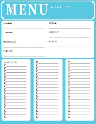 weekly menu & shopping list {free printable}