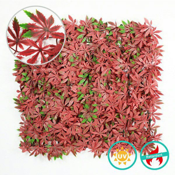 Fake Fence Covering with Red Maple Leaves