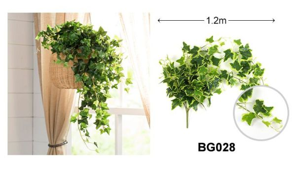 Mini Artificial Hanging Ivy in Basket with Sweet Potato Leaves