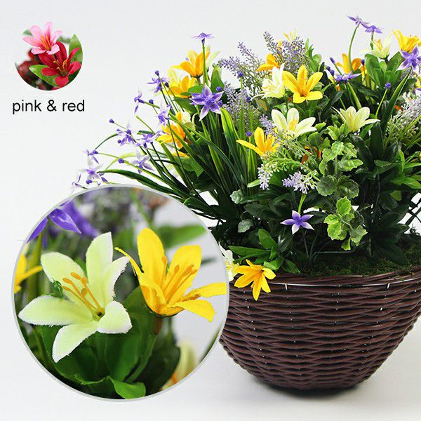 different colors of artificial lily in basket