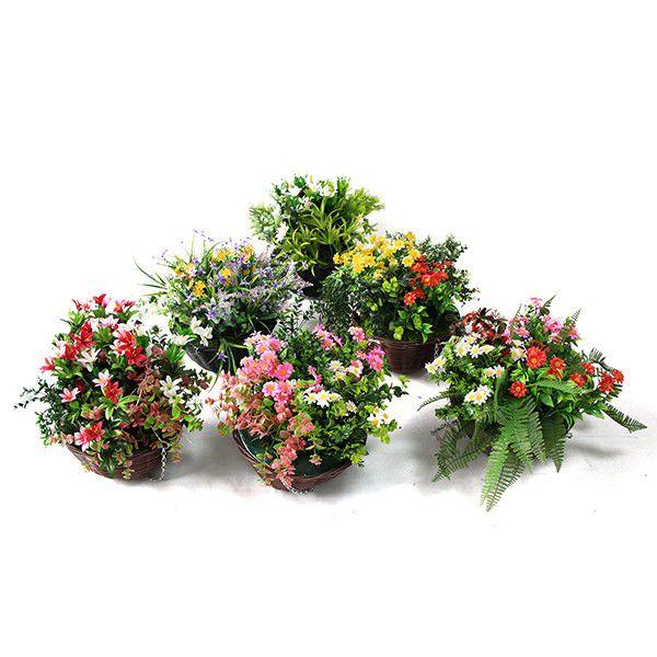 series of sunwing fake hanging basket plants