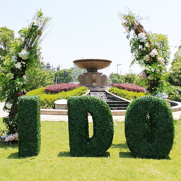 Topiary Letter I DO for the Wedding Scene