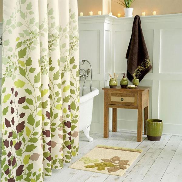 green leaf shower curtain decorating