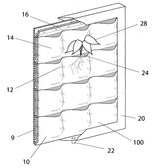 Florafelt Vertical Garden Panel US Patent 8141294