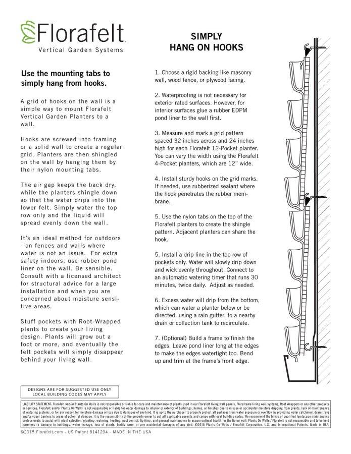 Florafelt Mounting Method Hang On Hooks