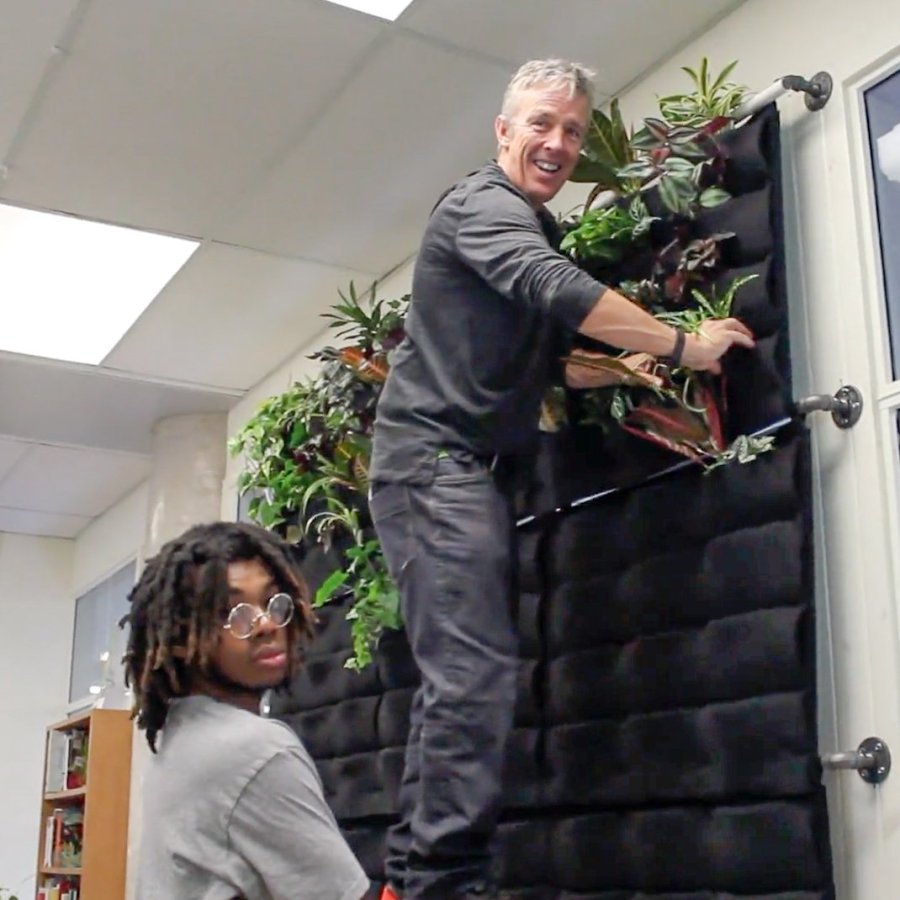 Florafelt living wall created by students at Milken Mills High School in Ontario, Canada.