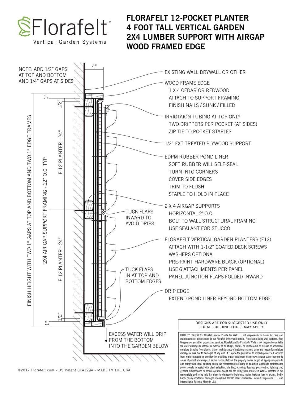 Florafelt 2x4 Lumber Support with Air Gap Wood Framed Edge