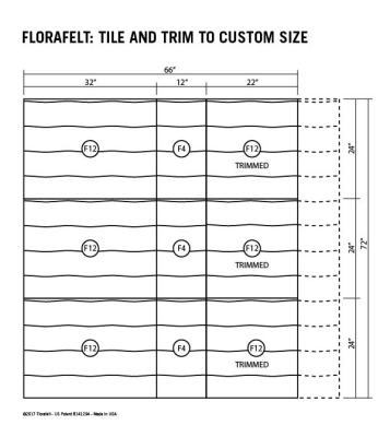 Florafelt Custom Sizing Guide Tile and Trim to Custom Size