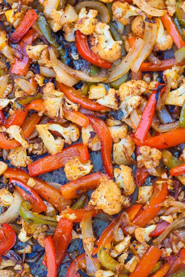 Easy Sheet Pan Vegan Cauliflower Fajitas cooked