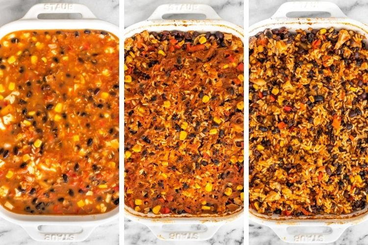 passo a passo do arroz de forno com feijão e vegetais