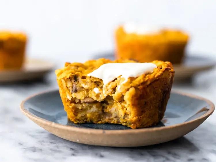 muffin salgado de aveia com abóbora e cogumelo