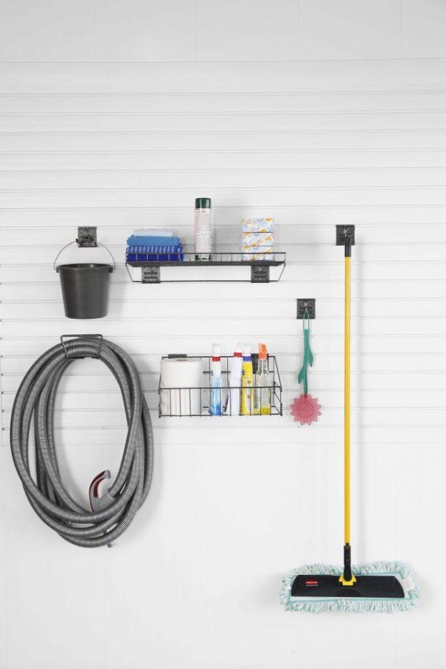 Panneau de rangement en PVC SlatWall pour le résidentiel.