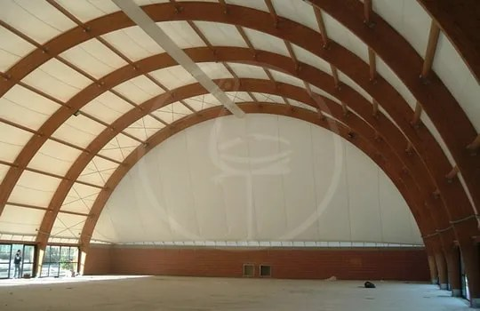 Gluelam wood arches with membrane