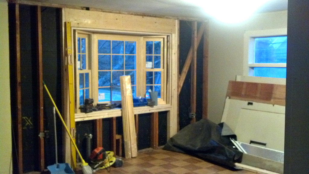 Renovation for open space and light - dining room bay window progress - Plaster & Disaster