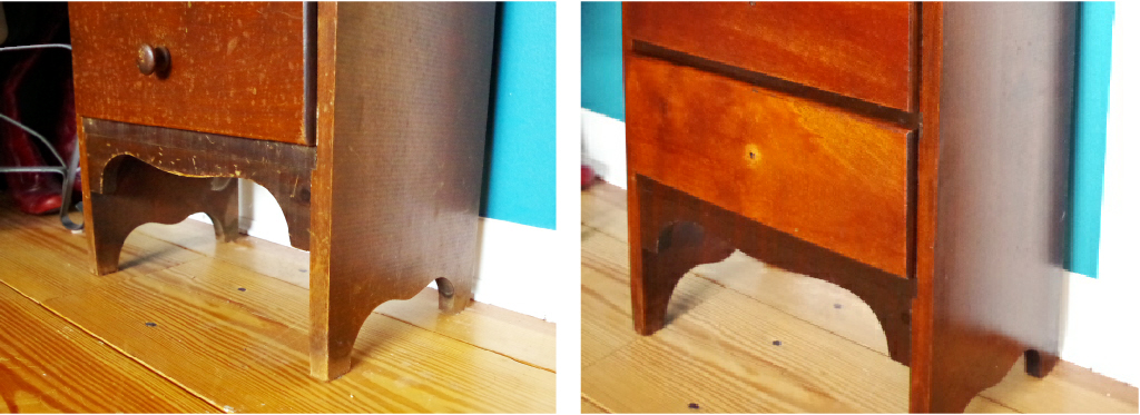 Furniture Makeover - Legs Finish Before and After - Plaster & Disaster