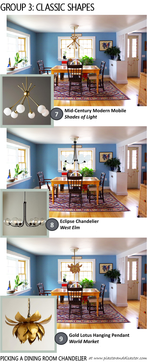 Picking a Dining Room Chandelier - Classic Shapes - Plaster & Disaster