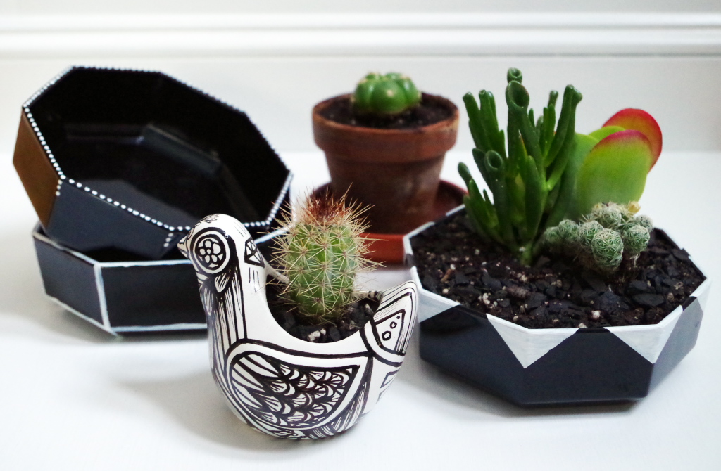 Thrift Store Bowls into Graphic Planters - and ceramic planter from sewZinski etsy shop - Plaster & Disaster