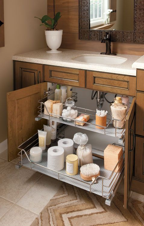 Beautiful vanity storage -- Plaster & Disaster