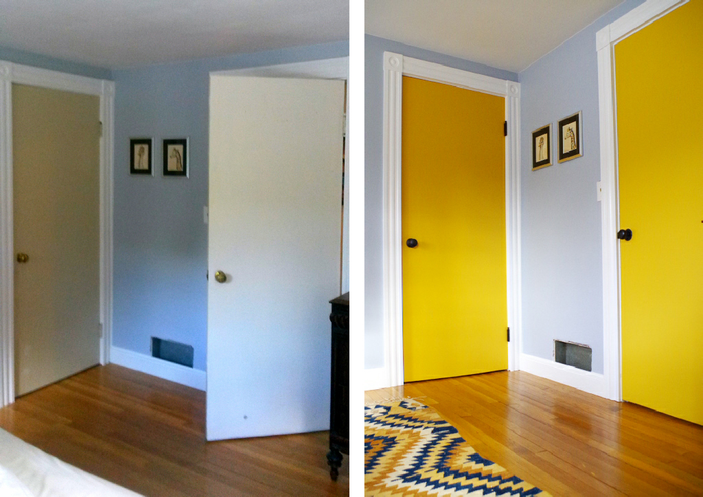 Painting Doors and Hardware - Bedroom Before and After - Plaster & Disaster