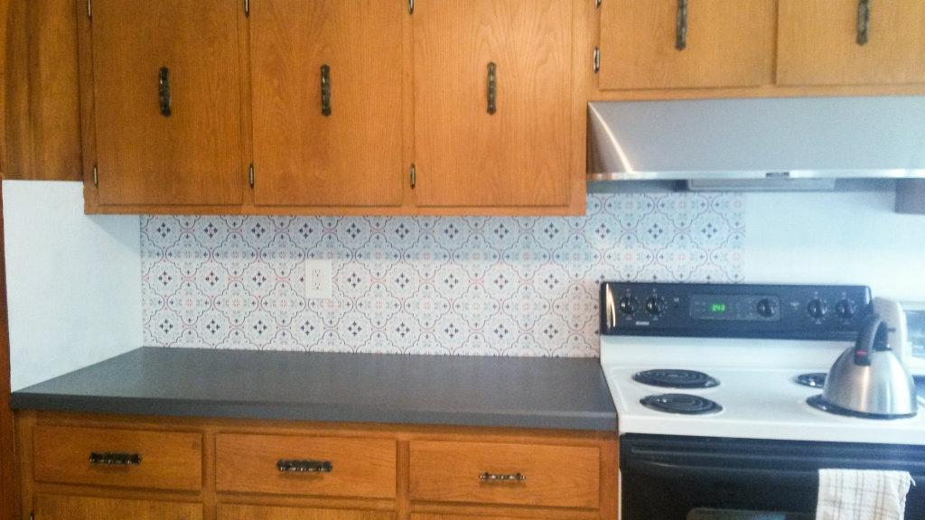 Temporary Kitchen Backsplash using Renters Wallpaper - Applying the wallpaper - Plaster & Disaster