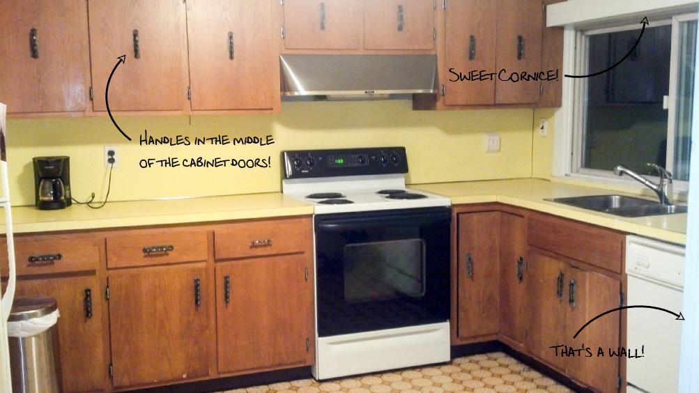Temporary Kitchen Backsplash using Renters Wallpaper - Kitchen Before - Plaster & Disaster