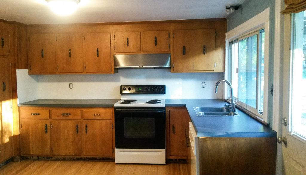 Temporary Kitchen Backsplash using Renters Wallpaper - Progress painted backsplash - Plaster & Disaster