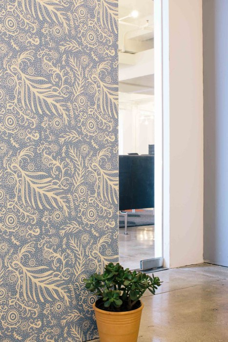 Little Leaf from chasingpaper.com - Temporary Backsplash Using Renters Wallpaper - Plaster & Disaster