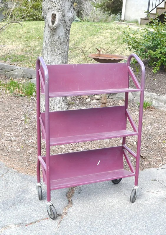 Salvaged book cart -- Plaster & Disaster