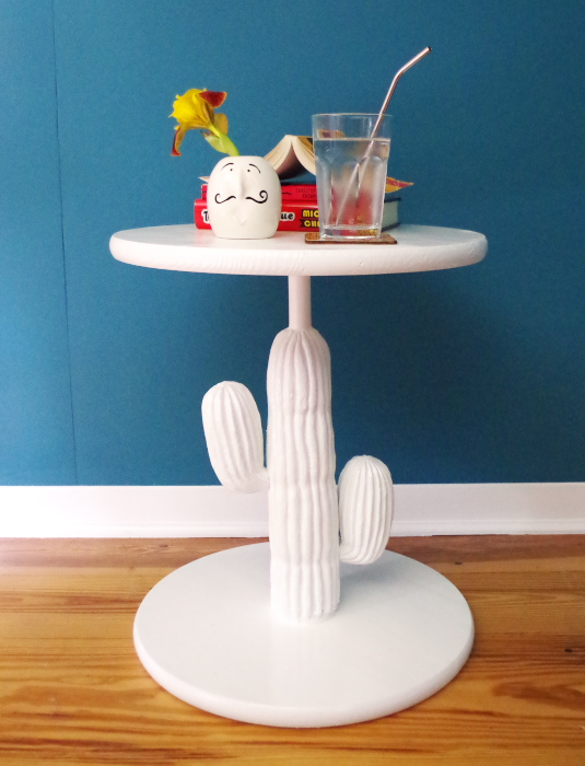 Turning a thrift store plastic cactus into a chic side table - Plaster & Disaster