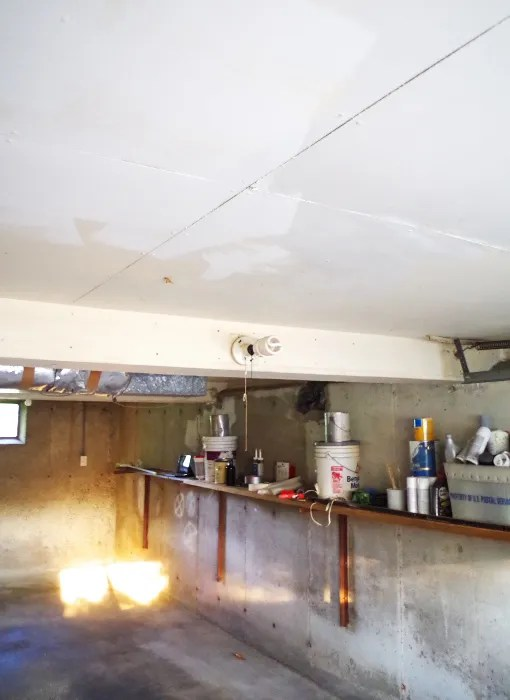 Garage update ceiling sealing plaster disaster