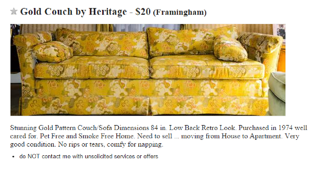 Craigslist - Awesome or Terrible - Couch - Plaster & Disaster