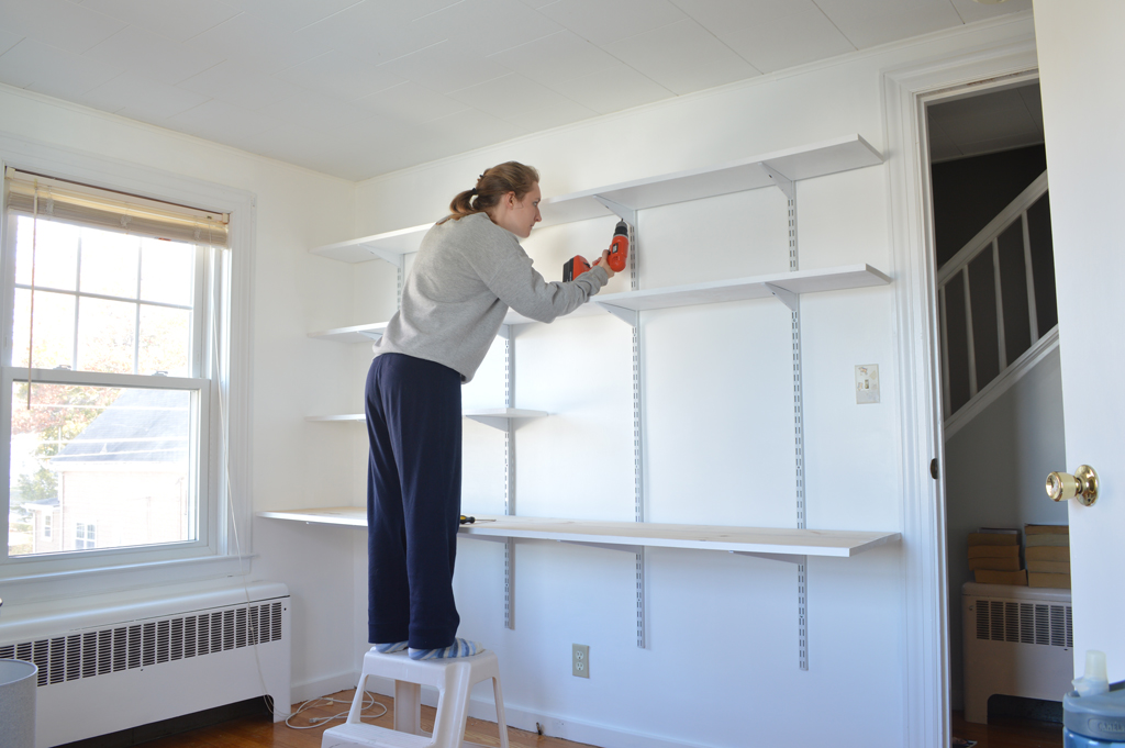 Installing a hanging shelf and desk -- Plaster & Disaster