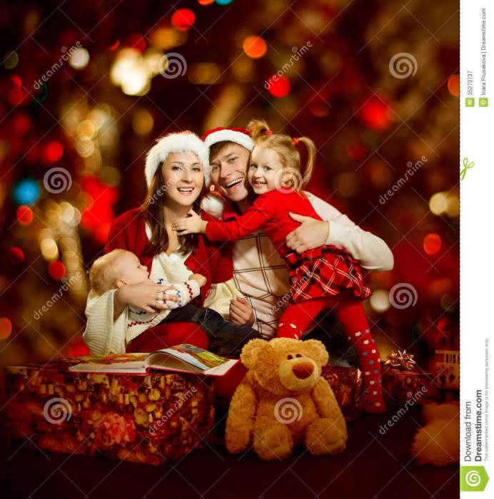 christmas-family-four-persons-happy-smiling-over-red-backgrou-background-35273737