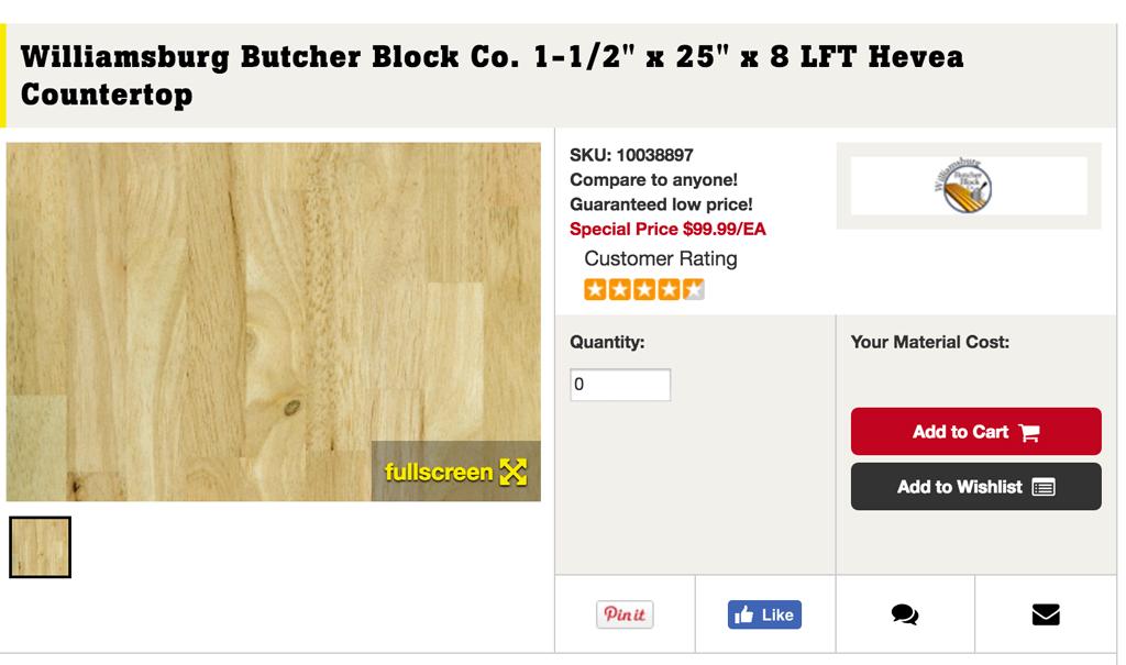 Affordable butcher block -- Plaster & Disaster