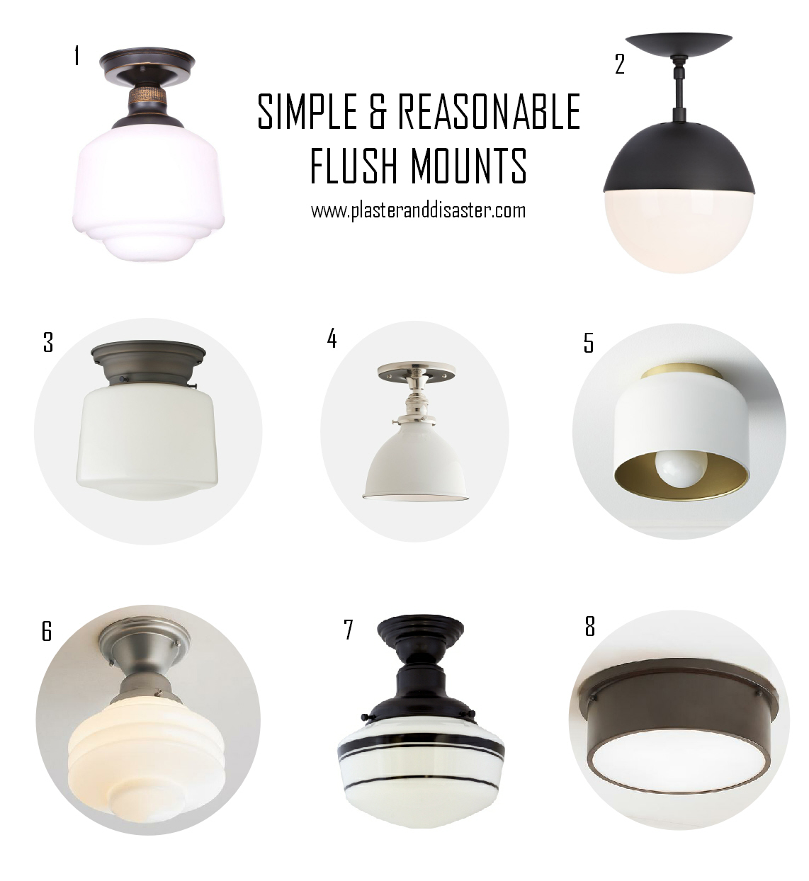 Simple & Reasonable Flush Mounts - Flush Mount Roundup - Plaster & Disaster